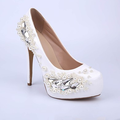 Women's White Patent Leather Stiletto Heel Pumps #LDB03030854