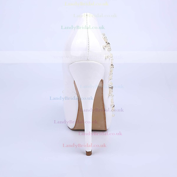Women's White Patent Leather Stiletto Heel Pumps #LDB03030855