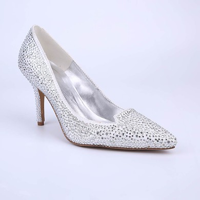 Women's White Sparkling Glitter Stiletto Heel Pumps #LDB03030856