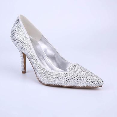 Women's White Sparkling Glitter Stiletto Heel Pumps #LDB03030856