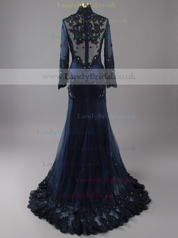 Long Sleeve Trumpet/Mermaid Appliques Lace Dark Navy Tulle High Neck Evening Dresses #LDB02018643