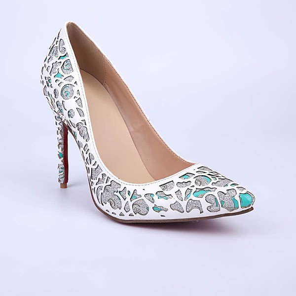 Women's White Patent Leather Stiletto Heel Pumps #LDB03030857