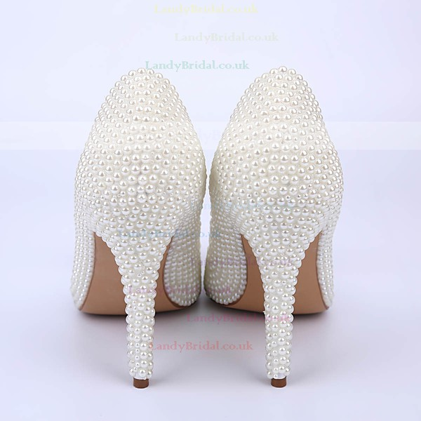 Women's White Patent Leather Stiletto Heel Pumps #LDB03030861
