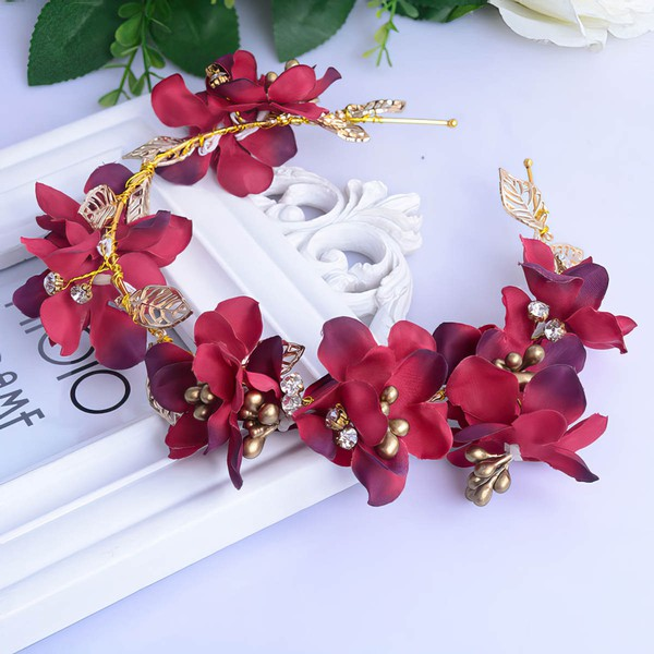 Burgundy Alloy Headbands #LDB03020050