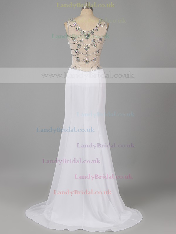 Pretty Scoop Neck Tulle Chiffon Beading Red Sheath/Column Prom Dresses #LDB02014824