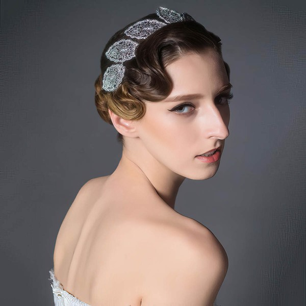 White Alloy Headbands #LDB03020076