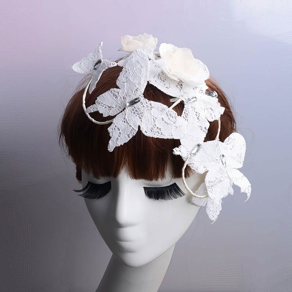 Ivory Lace Flowers & Feathers