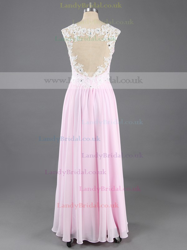 Princess Chiffon Tulle V-neck Floor-length Beading Prom Dresses #LDB02016574