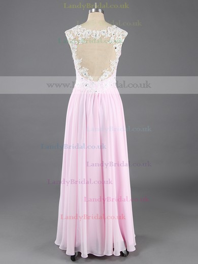 Princess Chiffon Tulle V-neck Floor-length Beading Prom Dresses #LDB02016574