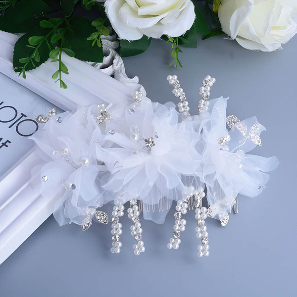 White Alloy Combs & Barrettes #LDB03020094