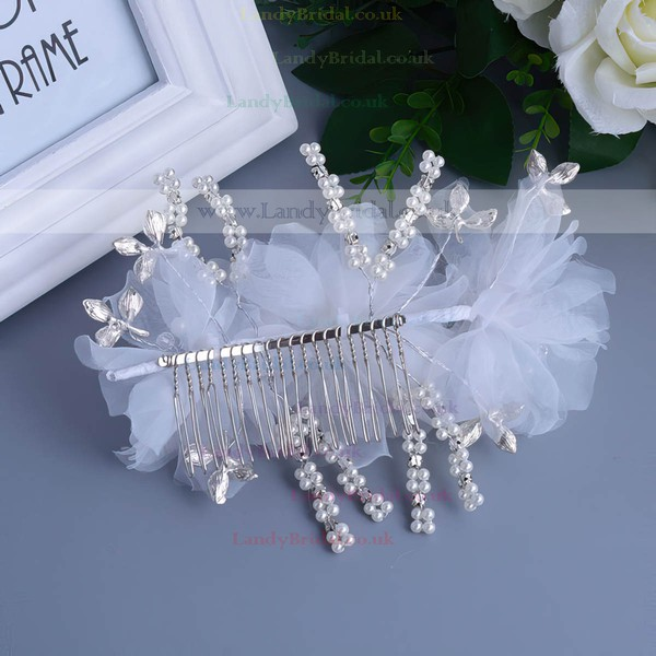 White Alloy Combs & Barrettes
