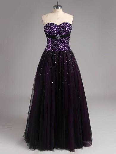 Top Sweetheart Crystal Detailing Grape Tulle Princess Prom Dress #LDB02015136