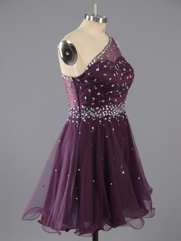 Sweet Short/Mini Purple Tulle Beading One Shoulder Prom Dresses #LDB02042347