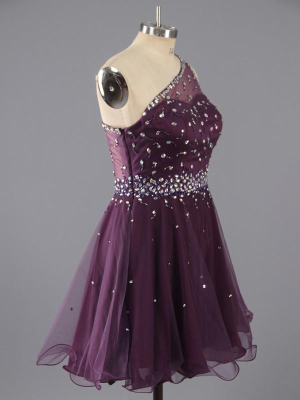 Sweet Short/Mini Purple Tulle Beading One Shoulder Prom Dresses #LDB02042347