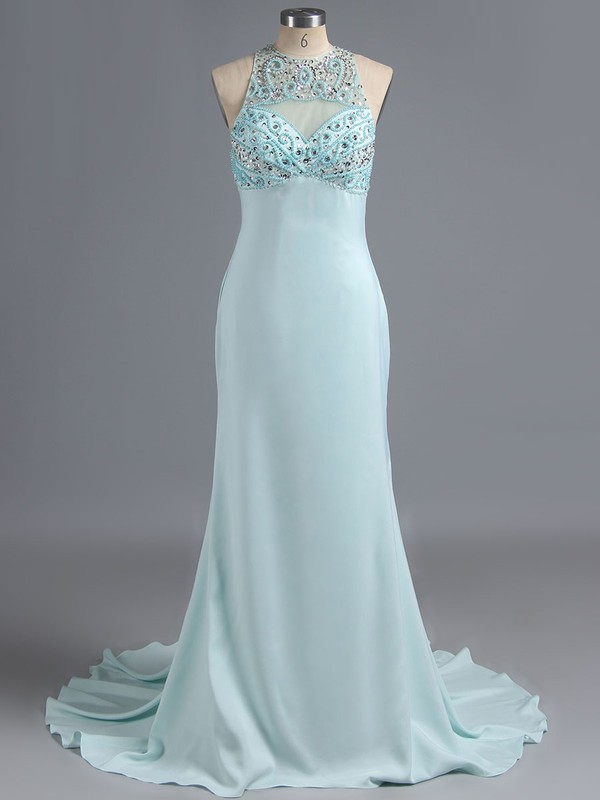 Scoop Neck Light Sky Blue Chiffon Tulle Crystal Detailing Trumpet/Mermaid Prom Dresses #LDB02016263