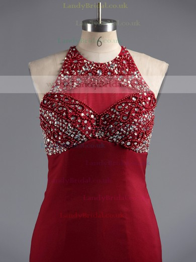 Scoop Neck Light Sky Blue Chiffon Tulle Crystal Detailing Trumpet/Mermaid Prom Dresses #LDB02016263