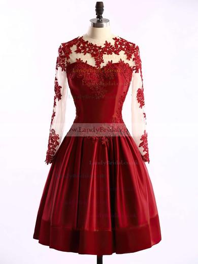Short/Mini Elastic Woven Satin Tulle Appliques Lace Scoop Neck Long Sleeve Prom Dresses #LDB02016430