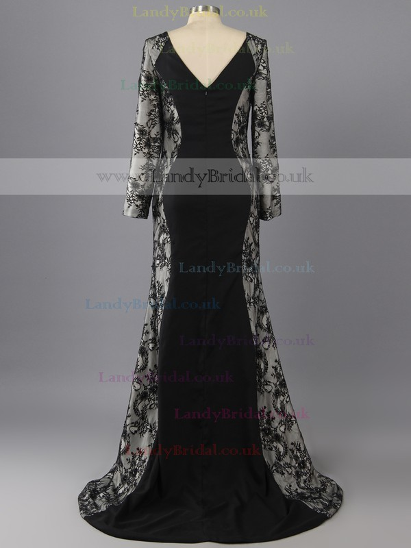 Black Lace Silk-like Satin Trumpet/Mermaid Ruffles Long Sleeve Scoop Neck Prom Dress #LDB02016964