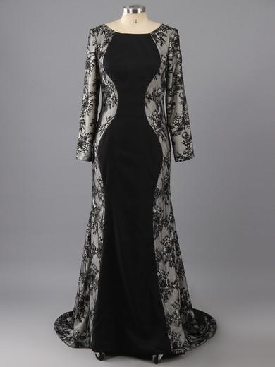 Black Lace Silk-like Satin Trumpet/Mermaid Ruffles Long Sleeve Scoop Neck Prom Dress #LDB02016964
