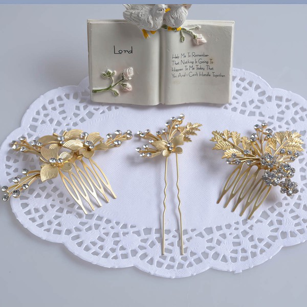 Gold Alloy Combs & Barrettes #LDB03020222