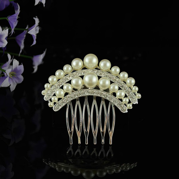 White Alloy Combs & Barrettes #LDB03020225