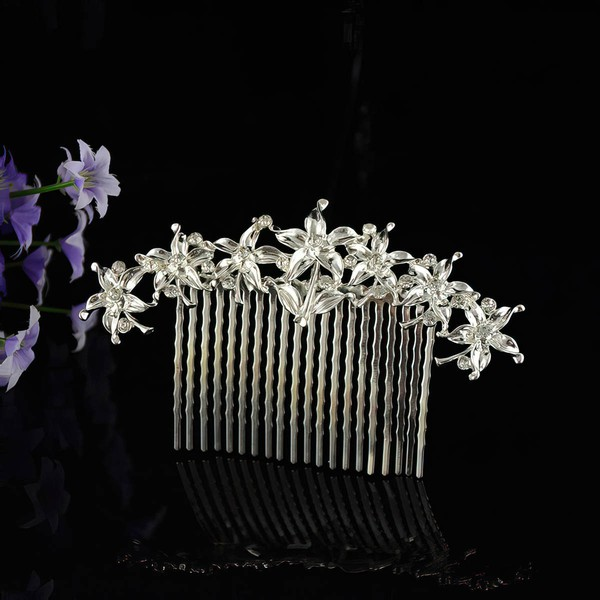 White Alloy Combs & Barrettes #LDB03020226