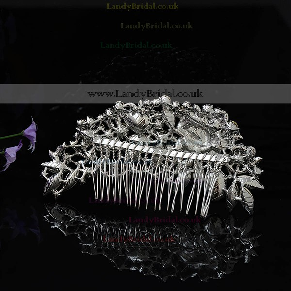 White Alloy Combs & Barrettes #LDB03020230