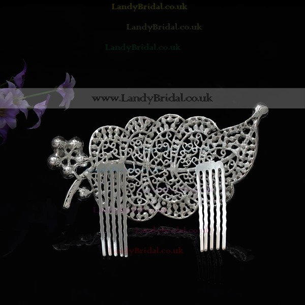 White Alloy Combs & Barrettes #LDB03020250
