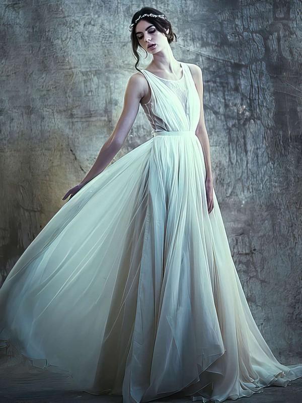 Ivory Chiffon Tulle Scoop Neck Sashes / Ribbons Sweep Train Newest Wedding Dresses #LDB00021395