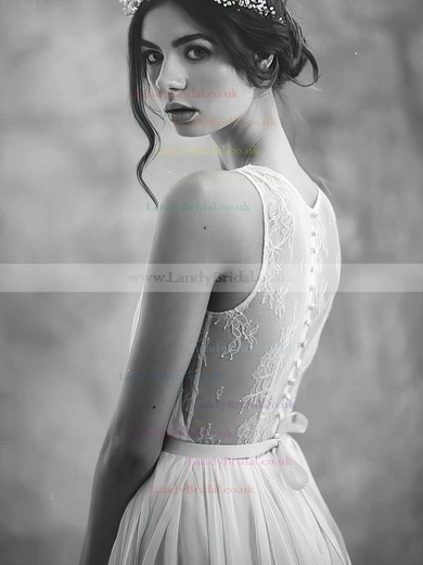 Ivory Chiffon Tulle Scoop Neck Sashes / Ribbons Sweep Train Newest Wedding Dresses #LDB00021395