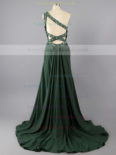 Simple Sheath/Column Backless Dark Green Chiffon Beading One Shoulder Prom Dresses #LDB02014848
