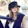 Black Wool Bowler/Cloche Hat #LDB03100002