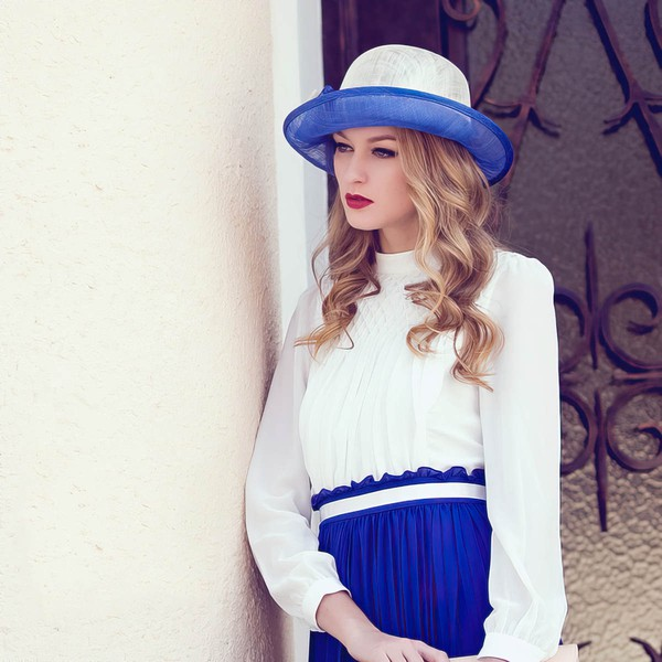 Ivory-Royal Blue Cambric Bowler/Cloche Hat #LDB03100012
