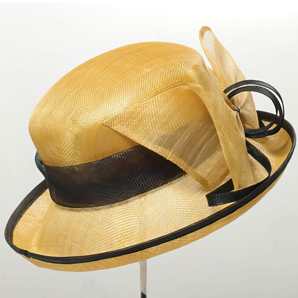 Yellow Cambric Bowler/Cloche Hat #LDB03100013