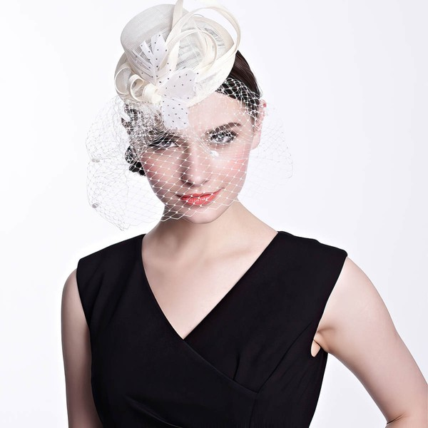 White Net Yarn Fascinators #LDB03100015