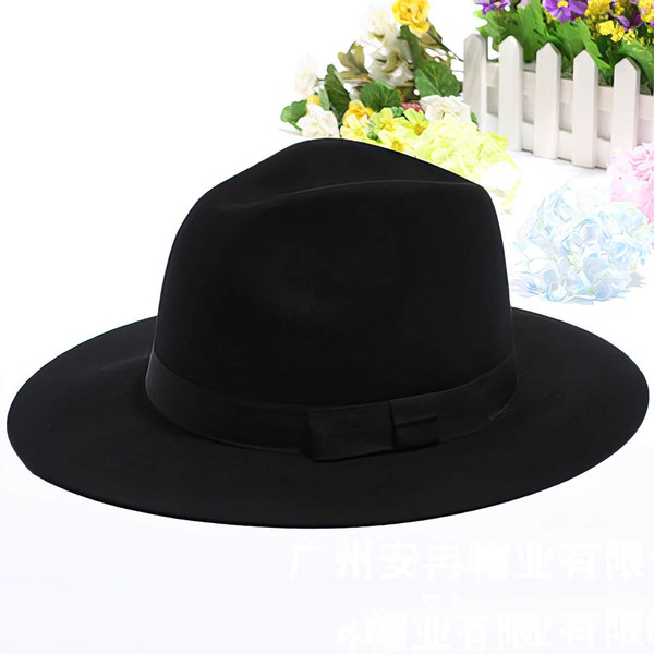 Black Wool Bowler/Cloche Hat #LDB03100034