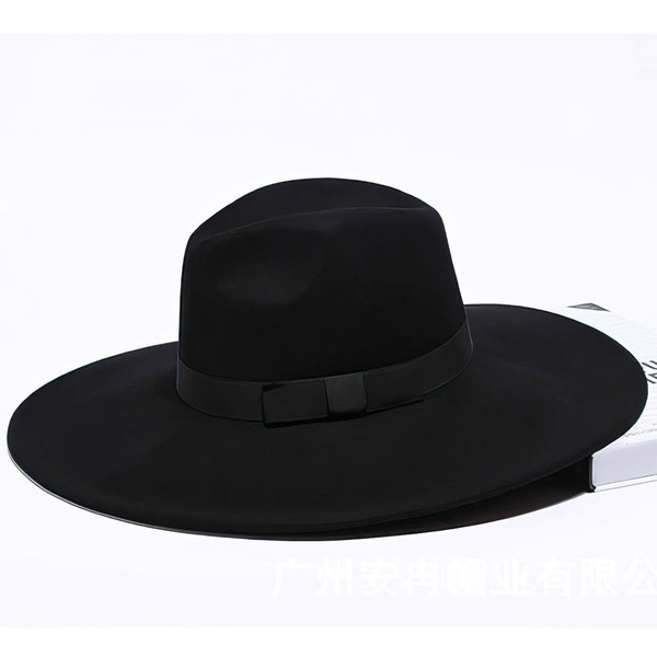Black Wool Floppy Hat #LDB03100035