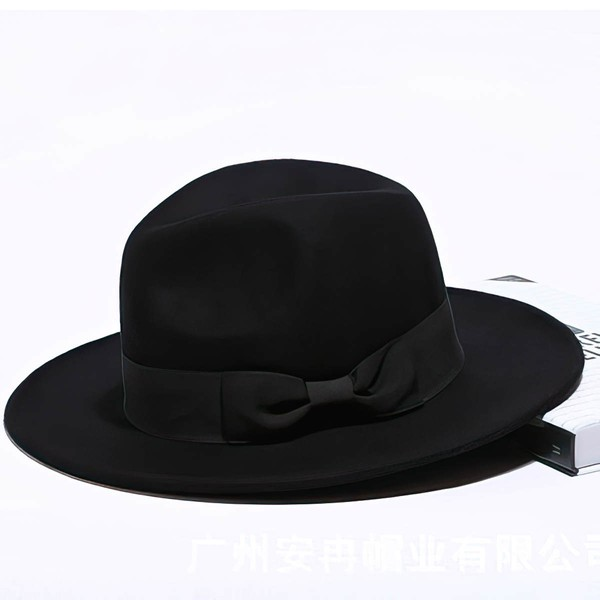 Black Wool Bowler/Cloche Hat #LDB03100036