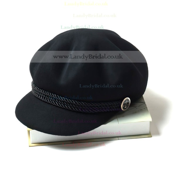 Black Wool Bowler/Cloche Hat
