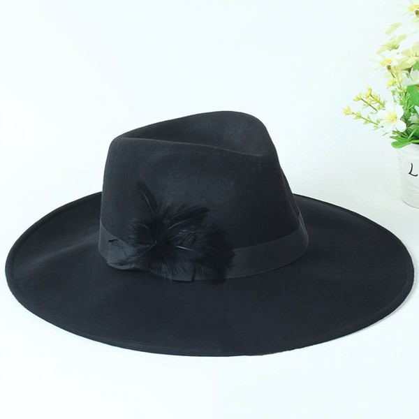 Black Wool Floppy Hat #LDB03100063