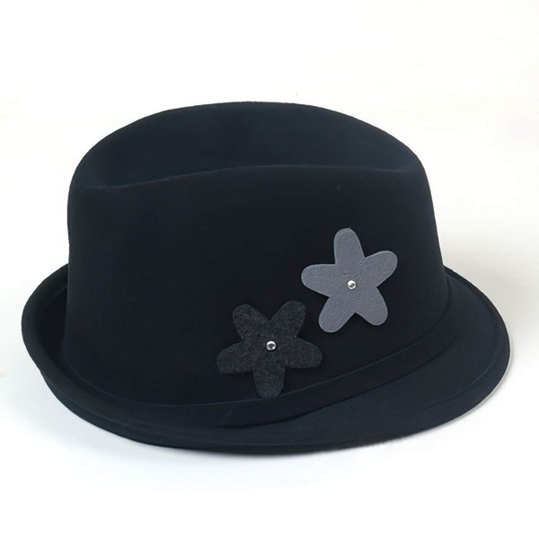 Black Wool Bowler/Cloche Hat #LDB03100065