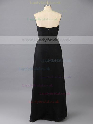 Black Floor-length Chiffon Crystal Detailing Designer Sweetheart Prom Dress #LDB02014876