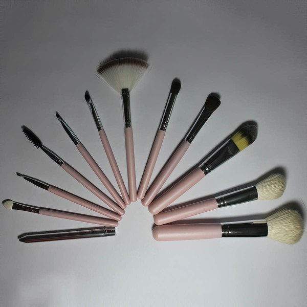 Natural Goat Hair Professional Makeup Brush Set in 12Pcs