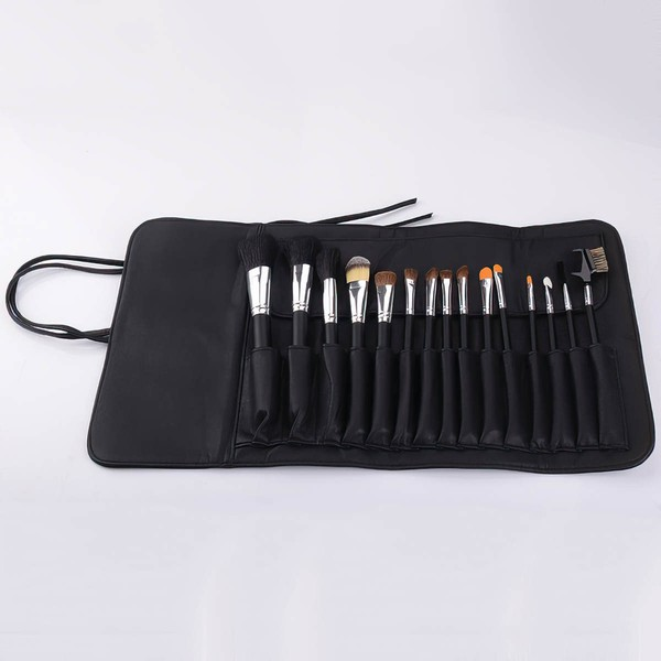 Natural Goat Hair Travel Makeup Brush Set in 15Pcs