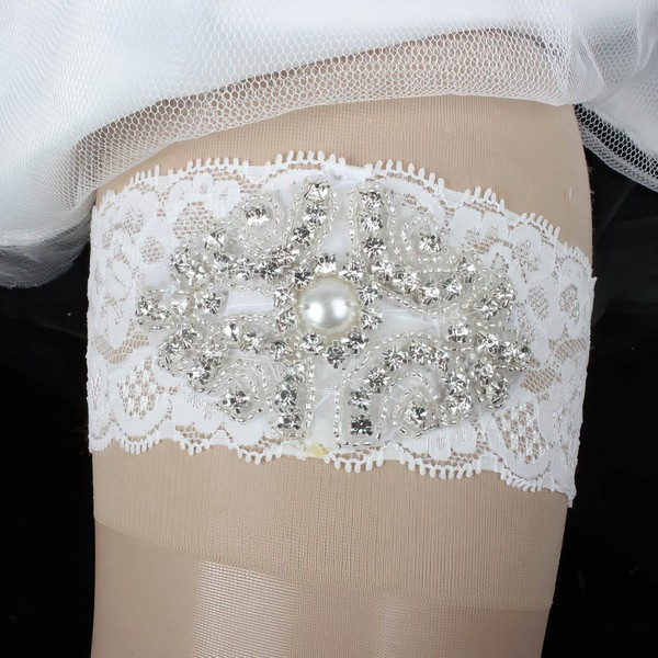 Lace Garters with Imitation Pearls/Crystal #LDB03090002