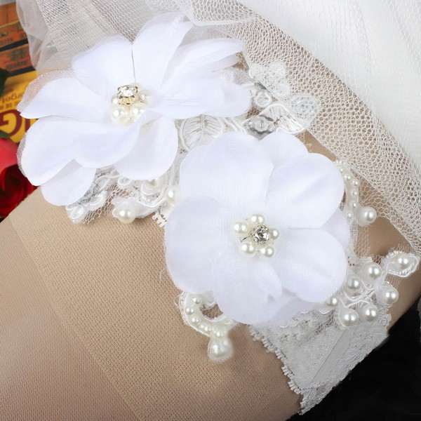 Lace Garters with Rhinestone/Flower/Pearl #LDB03090005