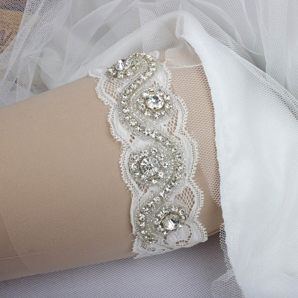 Lace Garters with Rhinestone/Crystal