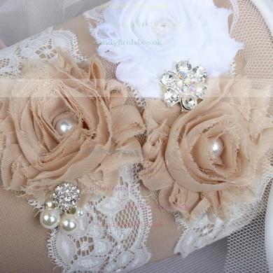 Lace Garters with Rhinestone/Imitation Pearls/Flower/Crystal #LDB03090007