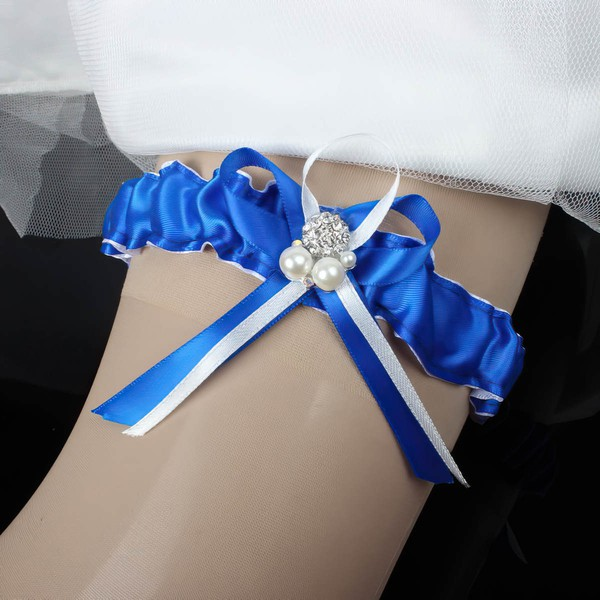 Satin Garters with Bowknot/Pearl/Crystal #LDB03090008