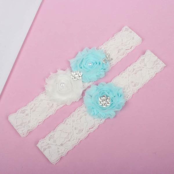 Lace Garters with Rhinestone/Imitation Pearls/Flower